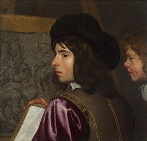 The Perfect Effect Canvas Of Oil Painting 'Jacob Van Oost The Elder Two Boys Before An Easel ' ,size: 10 X 10 Inch / 25 X 26 Cm ,this Vivid Art Decorative Prints On Canvas Is Fit For Bar Artwork And Home Decoration And Gifts