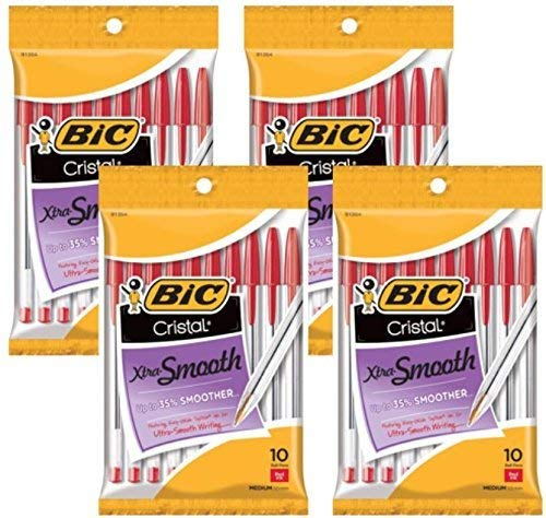 BIC Cristal Stic Ballpoint Pen, 1.0mm, Medium Point, Red Ink, Pack of 40