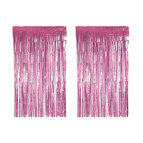 BTSD-home Pink Foil Fringe Curtain, Metallic Photo Booth Tinsel Backdrop Door Curtains for Wedding Birthday and Special Festival Decoration(2 Pack, 6ft x 8 ft)]()