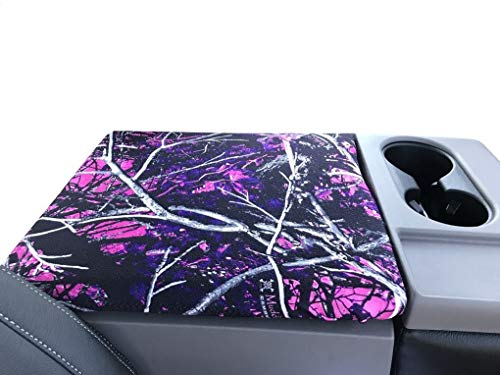 (Car Console Covers Plus Fits Ford F150 F250 2015-2019 Muddy Girl Camo Center Armrest Cover for Fold Down Center Console Lid Made in USA (FOLD Down))
