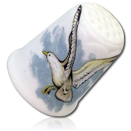 Custom & Collectible {25mm Hgt. x 19mm Dia.} 1 Single, Mid-Size Sewing Thimble Made of Fine-Grade Porcelain Glass w/ Coastal Ocean Beach Nature Outdoor Seagull Bird Flying In Sky Design - Glasses Coastal Warranty