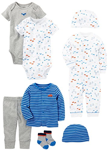 Simple Joys by Carter's Boys' 8-Piece Gift Set, Blue Cars, 0-3 Months