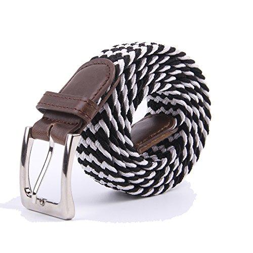 Canvas Elastic Fabric Woven Stretch Multicolored Braided Belts 2041-Black-White-L (White Belt Black Belt)