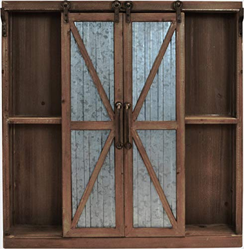 """FirsTime & Co. Westerly Barn Door Cabinet, 34""""H x 33.5""""W x 5.5""""D, Weathered Brown"""