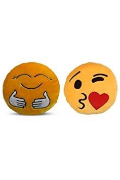 Deals India Yellow Hugging and Face throwing a kiss Smiley Cushion - 35 cm(SmileyE&F)(Set of 2)
