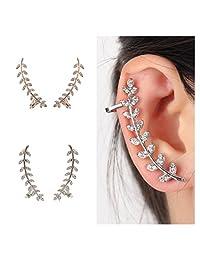 Gold Silver Crystal Leaf Post Stud Ear Climber Ear Clip Cuff Wrap Earrings for Women Girls