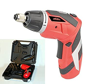 Dextra 15009 4-volt Dual Angle Lithium-Ion Cordless Screwdriver Kit, Red/Black