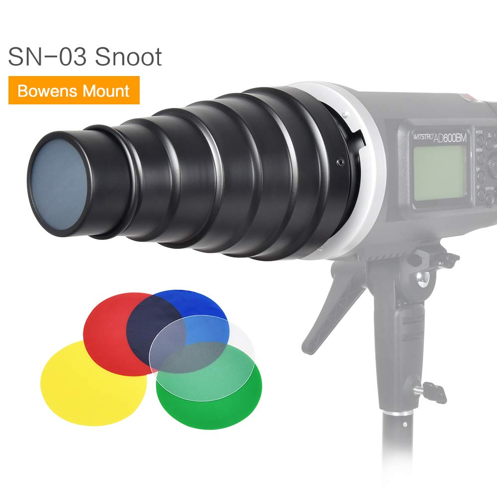 SUPON Metal Body Photo Conical Studio Snoot with Honeycomb Grid 5pcs Color Filter Kit for Bowens Mount Strobe Flash Speedlight Photography Light Modifier Ideal Moonlights by SUPON