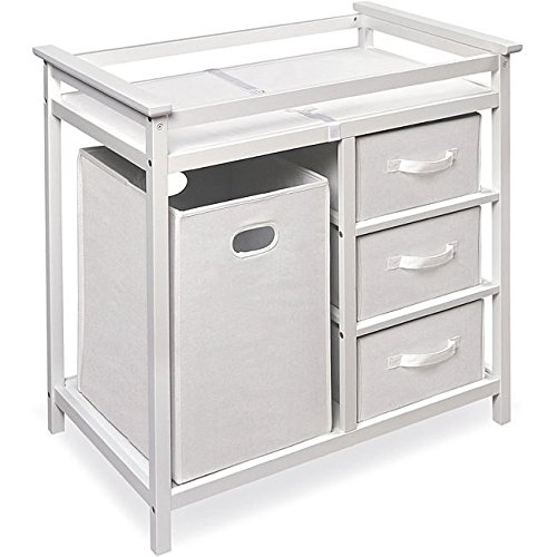 Modern White Changing Table with Hamper and Three Baskets Badger Basket