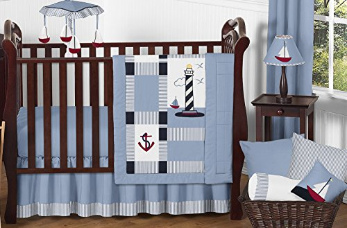 Sweet Jojo Designs 11-Piece Come Sail Away Nautical Sail Boat Blue and white Baby Boy Bedding Crib Set Without Bumper