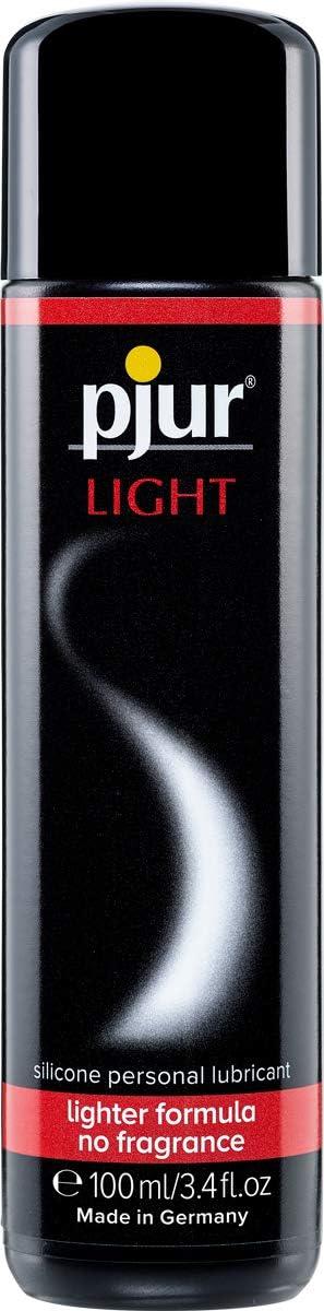 pjur LIGHT - Lubricante y gel de masaje de silicona - fórmula ligera para una lubricación extralarga y más placer en el sexo (100ml)