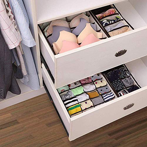 Auoinge Drawer Organiser Divider, Foldable Sock Underwear Drawer Organiser Storage Box for Wardrobe Closet, Dustproof, Odorless Bedroom Knicker Compartments