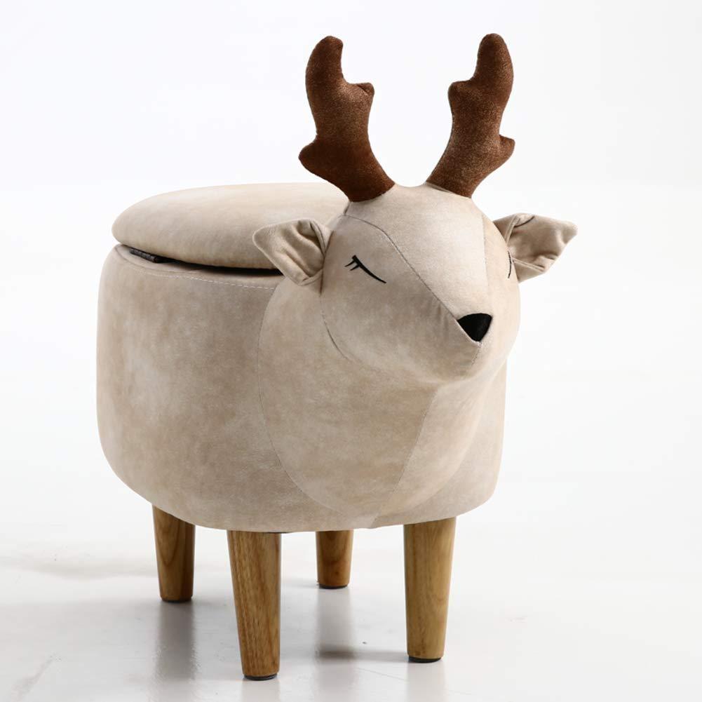 Farbe : Beige Hocker Deer Schuhbank Gepolsterte Reithocker Tier Modern Minimalist Kunstleder LEBAO