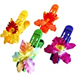 (Set of 4) Beach Towel Tropical Maui Hawaiian Orchid Clips JUMBO SIZE (5 inches) for Beach Chair or Pool Loungers on Your Cruise. (Mixed orchid)