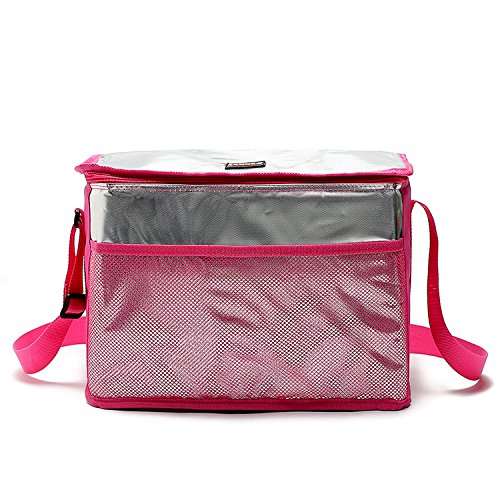Hippih Aluminum Foil Insulated Cooler Lunch Box - Waterproof & Keep Warm Lunch Bag for Men, Women and Kids (Pink Tote)