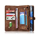 CaseMe Galaxy S7 Edge Multifunctional Purse Wallet Flip Cover With Large Zipper Compartment,Kickstand, Card Holder, Genuine Leather Magnetic Case for Samsung Galaxy S7 Edge (Brown)