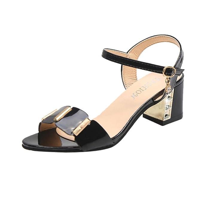 OYSOHE Damen Mode Transparente Sandalen Ankle High Heels Block Party Offene Spitze Schuhe