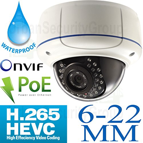 USG H.265 Compression 5MP 2592 x 1944 @ 30FPS IP Dome Security Camera: 6-22mm Long Range 5MP HD Lens, PoE, 30x IR LEDs, 1/1.8