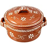 Vintage Portuguese Traditional Clay Terracotta Casserole With Lid Made In Portugal Cazuela (N.5 12'' Diameter)