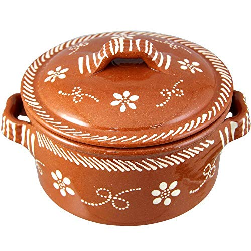 Vintage Portuguese Traditional Clay Terracotta Casserole With Lid Made In Portugal Cazuela (N.5 12