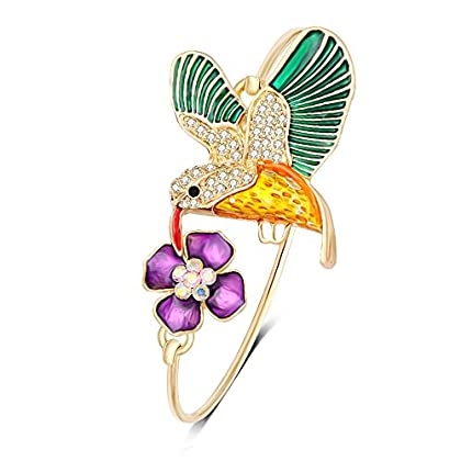 NOUMANDA Colourful Hummingbird Flower Adjustable Open Cuff Adjustable Wire Bangle Bracelet