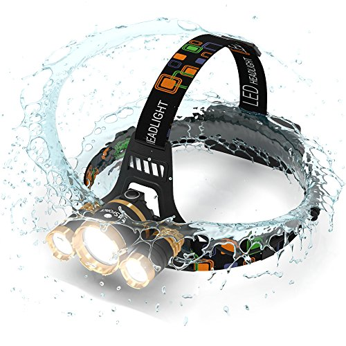 Brightest and Best LED Headlamp 6000 Lumen flashlight - IMPROVED LED, Rechargeable 18650 headlight flashlights, Waterproof Hard Hat Light, Bright Head Lights, Running or Camping headlamps