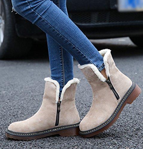 Stivali Nuovo Stivaletti Cerniera Anguang con Cachi Neve Autunno Snow Stivali con Invernali 1 Donna Inverno Boots Donna 5IqI7