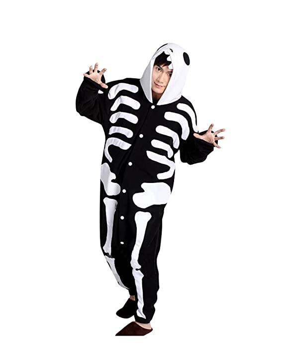 Keral Kigurumi Pijamas Adulto Anime Cosplay de Halloween Traje Outfit_Cráneo_S