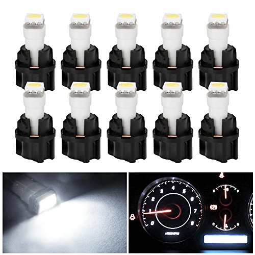 Price comparison product image YITAMOTOR 10 Pack White T5 Wedge 73 74 LED 5050 1-SMD Instrument Panel Gauge Cluster Dashboard LED Light Bulbs & 10 Twist Lock Socket