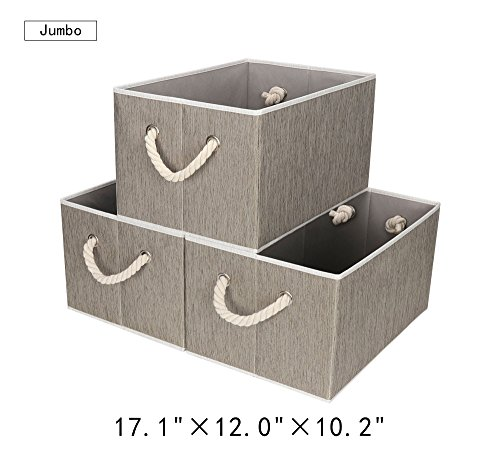 StorageWorks Polyester Storage Bin with Strong Cotton Rope Handle, Dark Khaki, Bamboo Style, Jumbo, 3-Pack