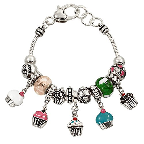 Lola Bella Gifts Cupcake Bakery Baker Baking Cake Theme Charm Bracelet with Gift Box -