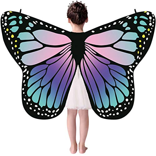 - ALOVEMO Kid Baby Girl Butterfly Wings Shawl Scarves Nymph Pixie Poncho Costume Accessory (Purple)