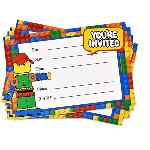 Gift Boutique 48 Pack Building Block Birthday Party Invitations with Envelopes Favor Supplies Decorations for Kids Teen Girls Boys
