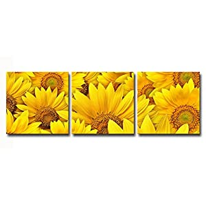 HappyHouseArt 3 Panel Sunflower Canvas Prints for Home Decoration 114