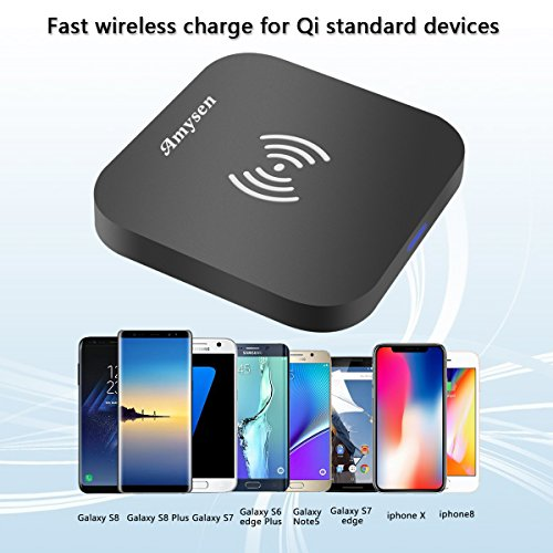 Wireless Charger, Ultra Slim Wireless Charging Pad with Anti-Slip Rubber for iPhone X iPhone8/8 Plus Samsung Galaxy Note 8 S8 S8 Plug S7 S7 Edge and Qi-Enable Devices (No AC Adapter) by Esicoo (Image #1)
