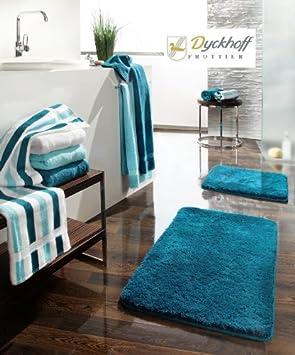Dyckhoff Tapis de salle de bain Bleu pétrole 70 x 120 cm ...