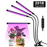 Lovebay Three Head LED Grow Light with Clip Base, 27W 54 LEDs Plant Grow Tube Lamp for Office Indoor Greenhouse Plants Herb Succulents, 360° Bendable Gooseneck, 3 Separated Switch, 2018 Upgraded