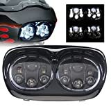 "Sunpie 7"" Black Motorcycle Projector Day Maker Dual LED Headlight for 2004~2013 Harley Davidson Road Glide"