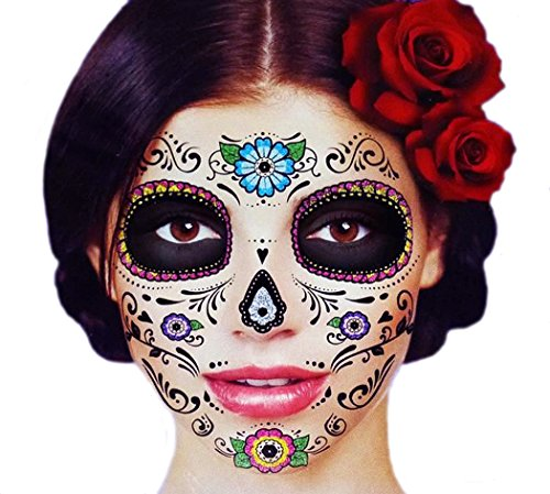 Glitter Floral Day of the Dead Sugar Skull Temporary Face Tattoo Kit - Pack of 2 Kits (Temporary Face Tattoos Halloween)