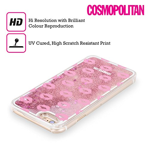 Official Cosmopolitan Hot Pink Kiss Mark Pink Liquid Glitter Case Cover for Apple iPhone 5 / 5s / SE