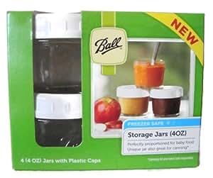 Ball Brand Glass Storage Jars with Plastic Caps - 4 (4oz) Jars and Caps