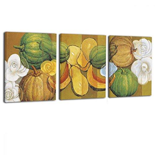 Ale-art Art 3 Panels Pumpkin Papaya Canvas Wall Art Fruit And Vegetable Life Paintings Artwork Ready To Hang For Home Decorations Wall Decor