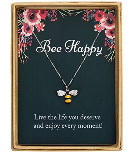 Bee Necklace - 925 Sterling Silver Dainty Bee With CZ Pendant Necklace Birthday Gift Christmas Gift for Women