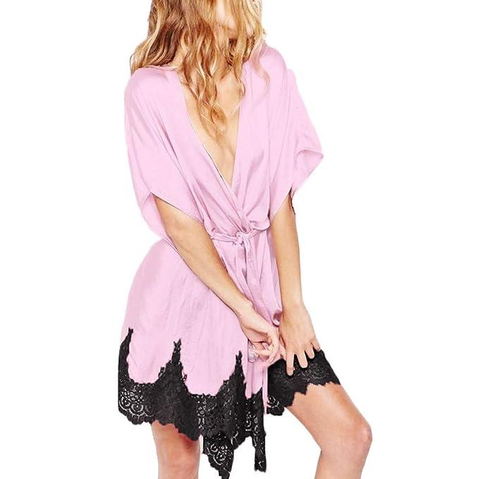 8ce669e4919 Coverhome Women Sexy Silk Dressing Gown Babydoll Lace Lingerie Bath Robe  Nightwear Satin Sleepwear Mini Dress