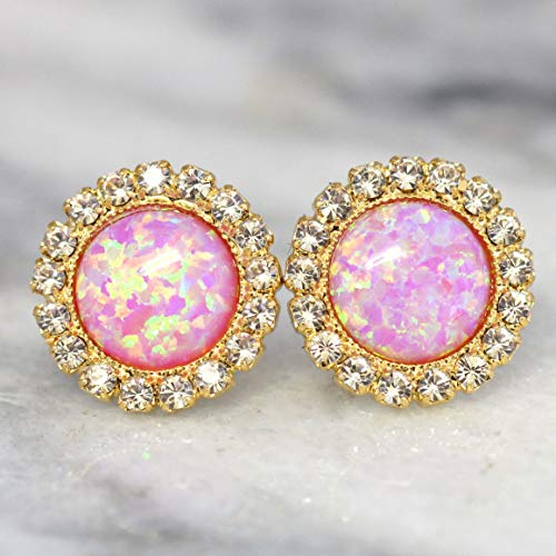 Bridal Pink Opal Swarovski Crystal Stud Earrings, Bridesmaids Gifts, Handmade Wedding and Party Women's Jewelry