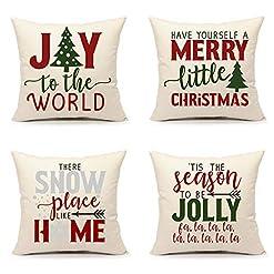 Christmas Farmhouse Home Decor Christmas Pillow Covers 18×18 Set of 4 Red Green Winter Farmhouse Decor Holiday Saying Throw Cushion Case for Sofa Couch… farmhouse christmas pillow covers