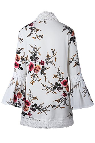Floreale Maniche Le White Zonsaoja Lunghe Donne Kimono Chiffon Cardigan Lace Mosaico 7FOq4Ag