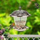 Sungmor Garden Bronze Metal Hanging Bird Feeder with Decorative Lantern Appearance Design (Bronze A (20x20x24cm))