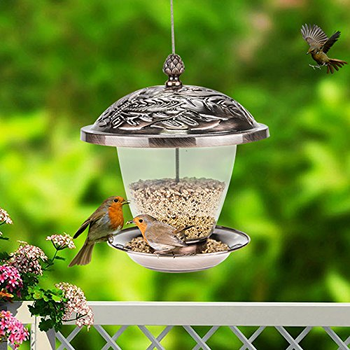 Sungmor Garden Bronze Metal Hanging Bird Feeder with Decorative Lantern Appearance Design (Bronze A (20x20x24cm)) by Sungmor