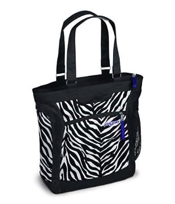 JanSport Ella Tote (Black/White Cosmo Zebra Poly)
